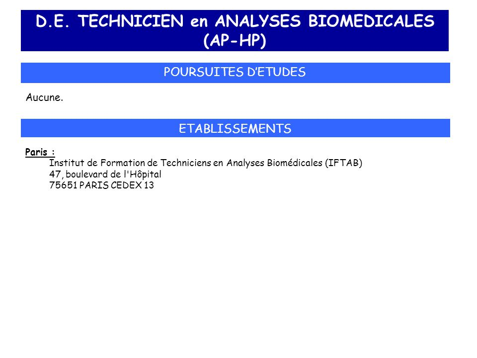 D.E. TECHNICIEN en ANALYSES BIOMEDICALES (AP-HP)
