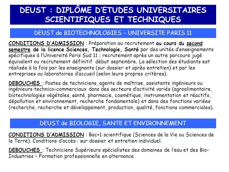 DEUST : DIPLÔME D'ETUDES UNIVERSITAIRES SCIENTIFIQUES ET TECHNIQUES