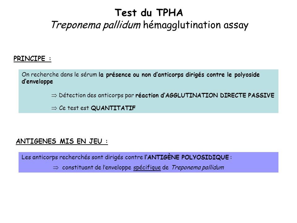 Test du TPHA Treponema pallidum hémagglutination assay
