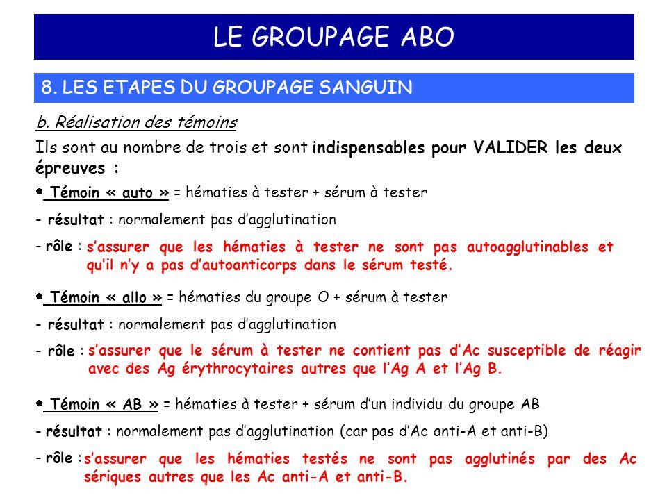 LE GROUPAGE ABO 8. LES ETAPES DU GROUPAGE SANGUIN
