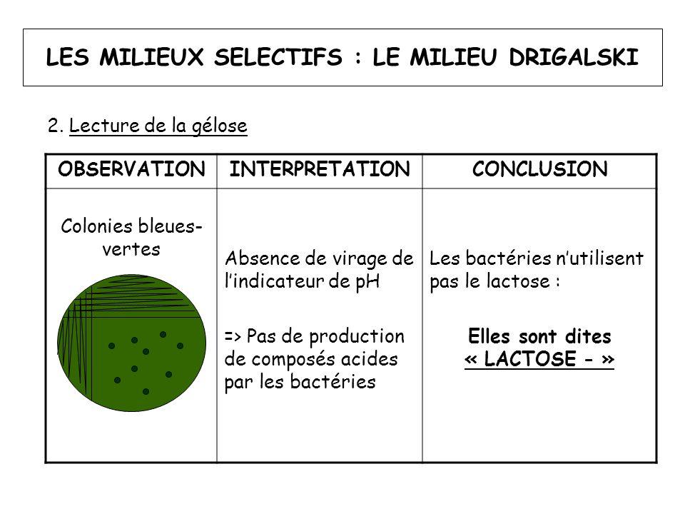 LES MILIEUX SELECTIFS : LE MILIEU DRIGALSKI