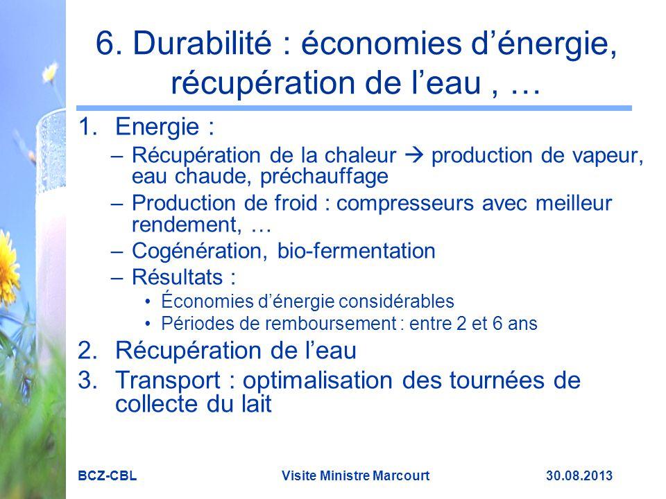 6. Durabilité : économies d'énergie, récupération de l'eau , …