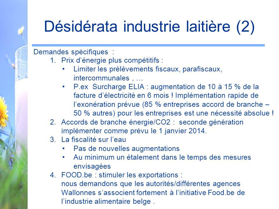Désidérata industrie laitière (2)