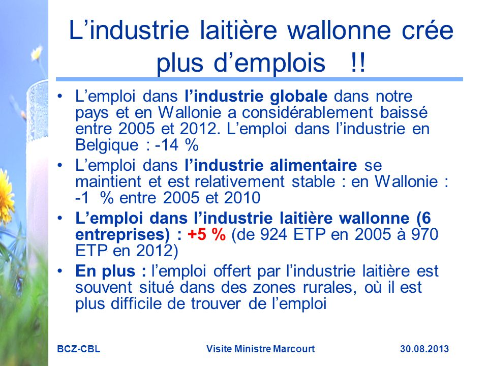 L'industrie laitière wallonne crée plus d'emplois !!
