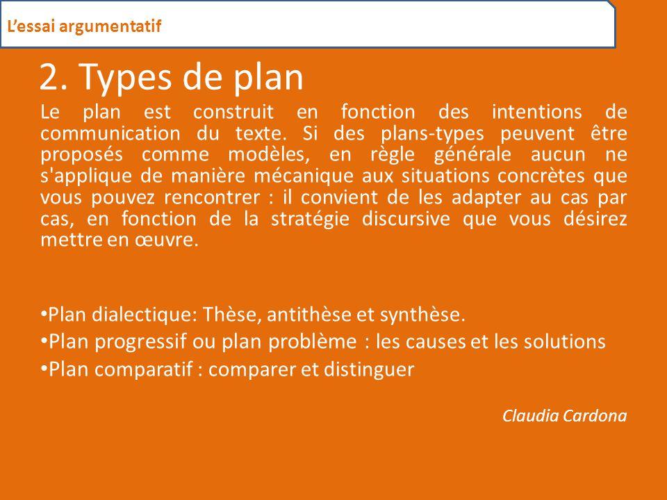 L'essai argumentatif 2. Types de plan.