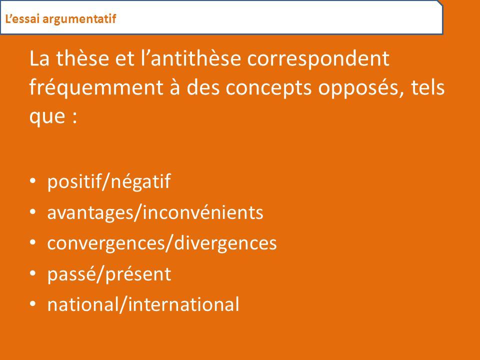 L'essai argumentatif La thèse et l'antithèse correspondent fréquemment à des concepts opposés, tels que :