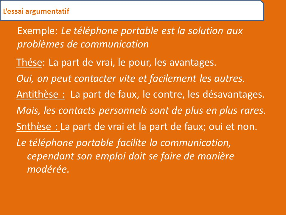 L'essai argumentatif Exemple: Le téléphone portable est la solution aux problèmes de communication.