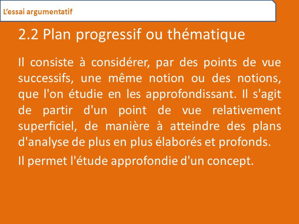 2.2 Plan progressif ou thématique
