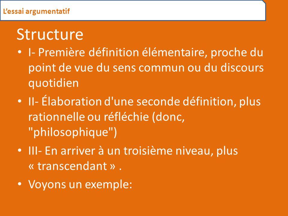 L'essai argumentatif Structure. I- Première définition élémentaire, proche du point de vue du sens commun ou du discours quotidien.