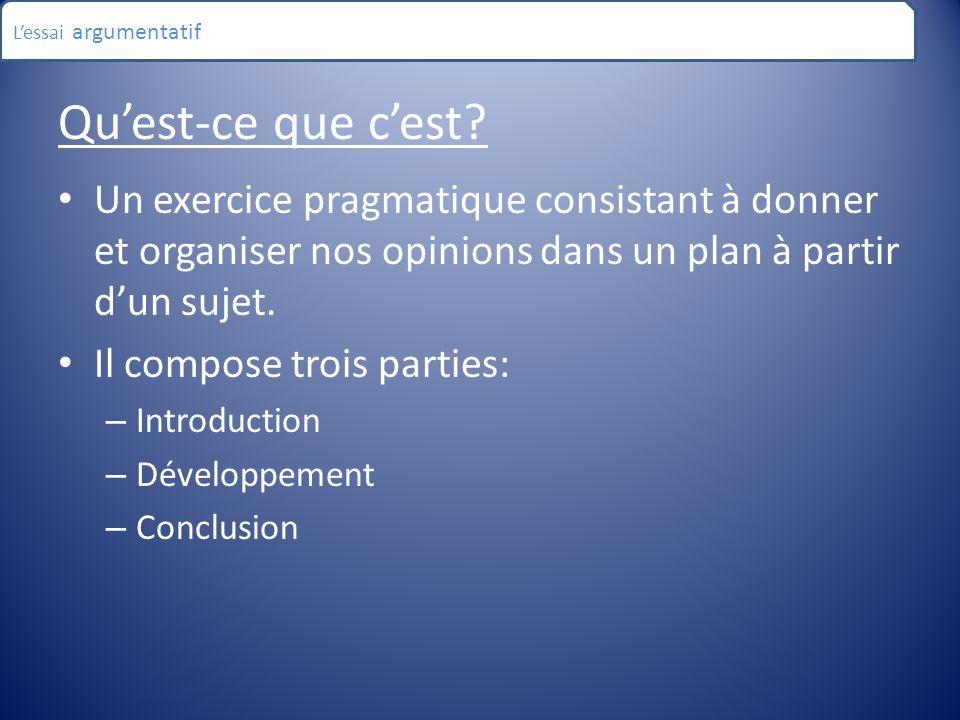 L'essai argumentatif Qu'est-ce que c'est Un exercice pragmatique consistant à donner et organiser nos opinions dans un plan à partir d'un sujet.