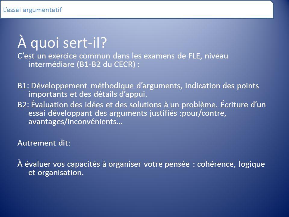 L'essai argumentatif À quoi sert-il C'est un exercice commun dans les examens de FLE, niveau intermédiare (B1-B2 du CECR) :