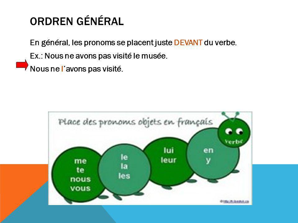 Ordren général En général, les pronoms se placent juste DEVANT du verbe.
