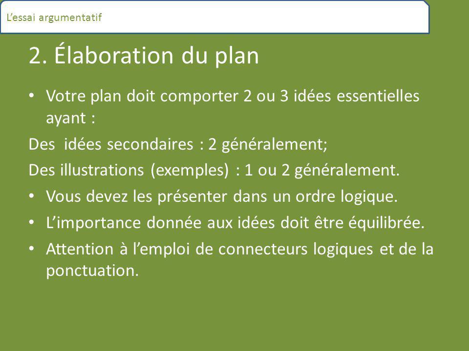 L'essai argumentatif 2. Élaboration du plan. Votre plan doit comporter 2 ou 3 idées essentielles ayant :