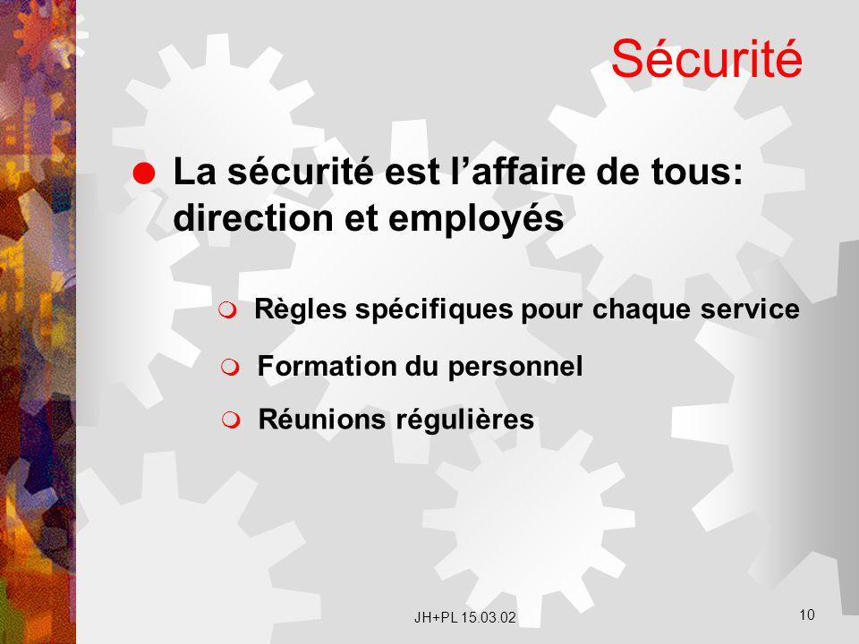 Sécurité La sécurité est l'affaire de tous: direction et employés