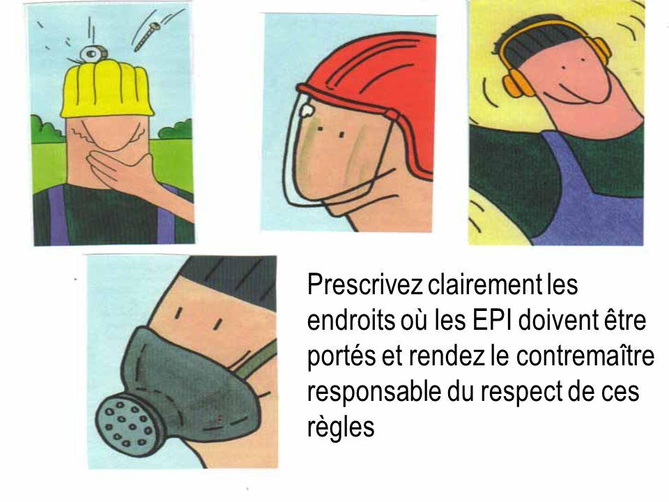 Prescrivez clairement les endroits où les EPI doivent être portés et rendez le contremaître responsable du respect de ces règles