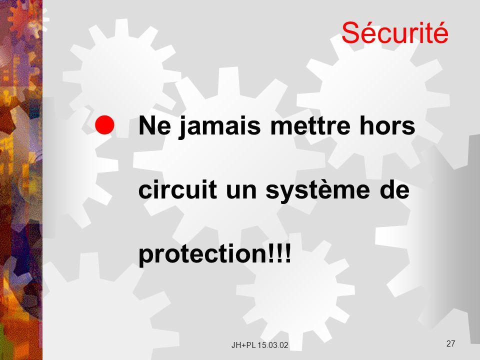 Sécurité Ne jamais mettre hors circuit un système de protection!!!