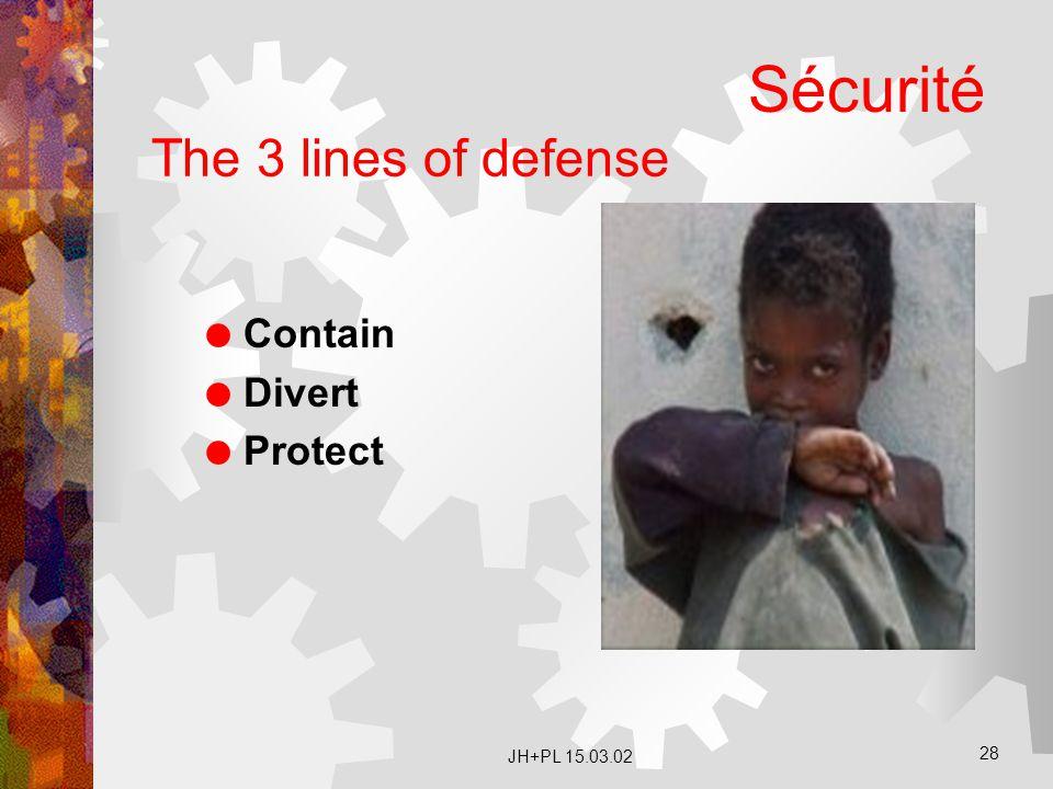 Sécurité The 3 lines of defense Contain Divert Protect JH+PL 15.03.02