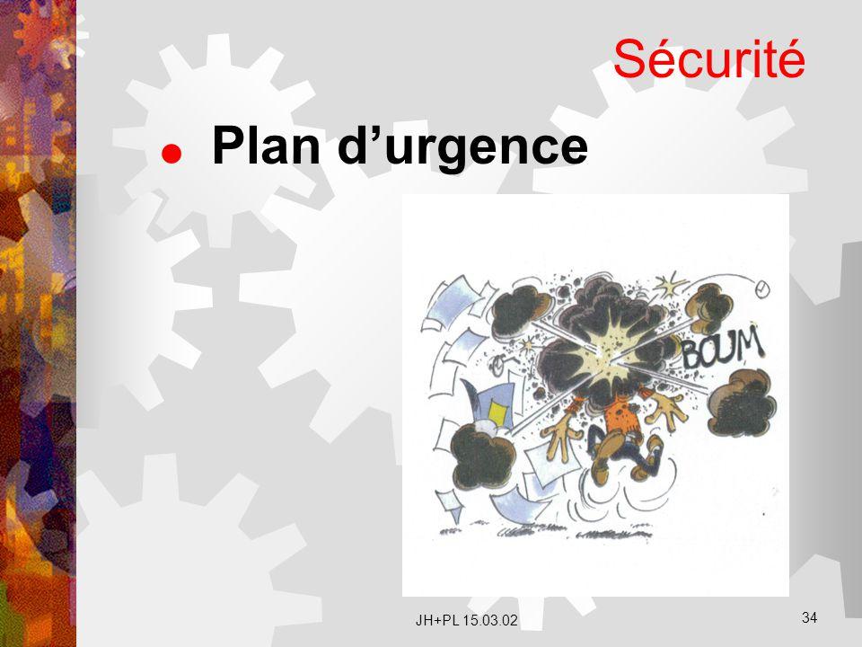 Sécurité Plan d'urgence JH+PL 15.03.02