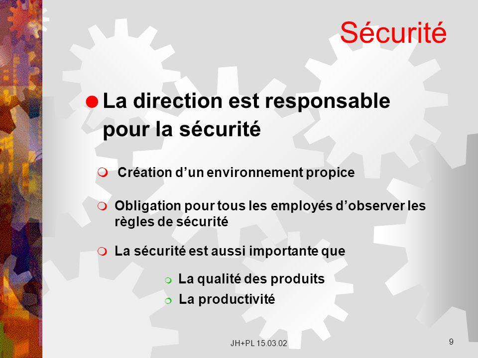 Sécurité La direction est responsable pour la sécurité