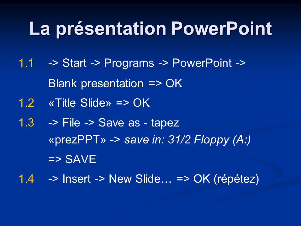 La présentation PowerPoint