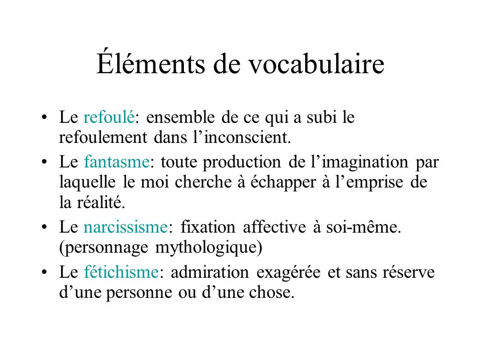 Éléments de vocabulaire