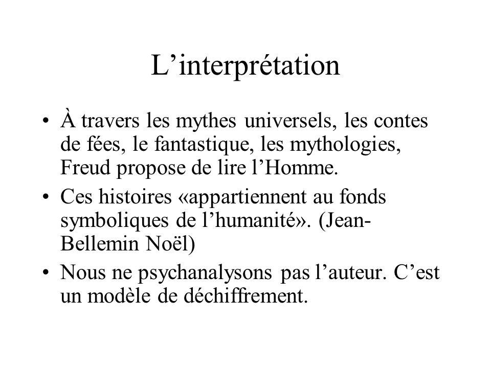 L'interprétation À travers les mythes universels, les contes de fées, le fantastique, les mythologies, Freud propose de lire l'Homme.