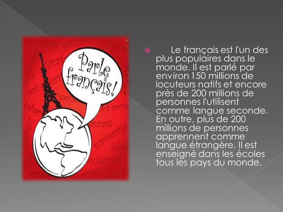 Le français est l un des plus populaires dans le monde
