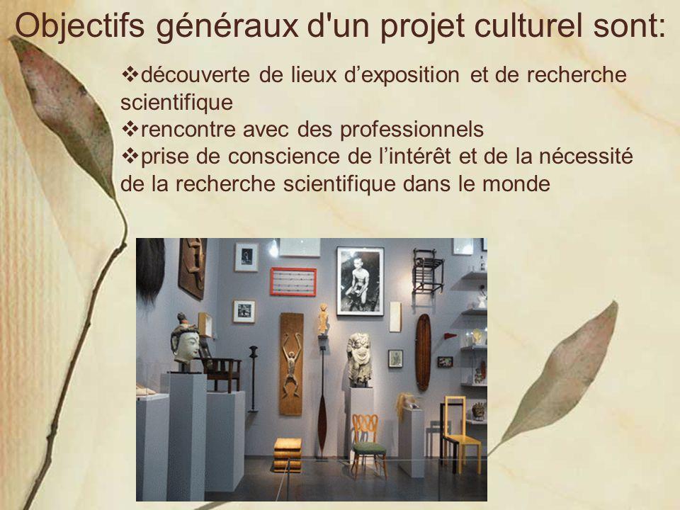 Objectifs généraux d un projet culturel sont: