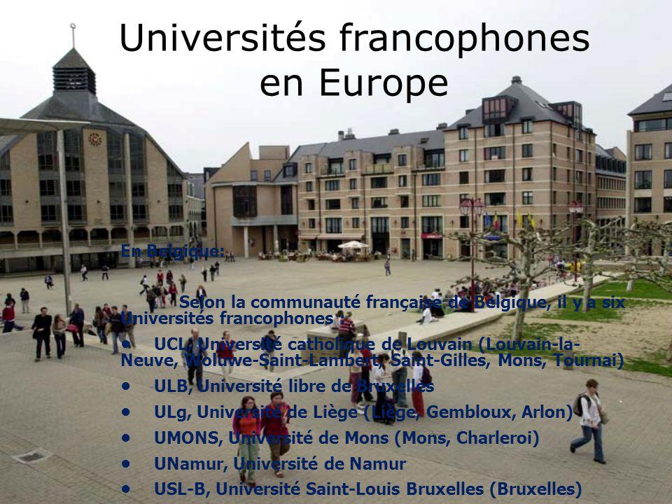 Universités francophones en Europe