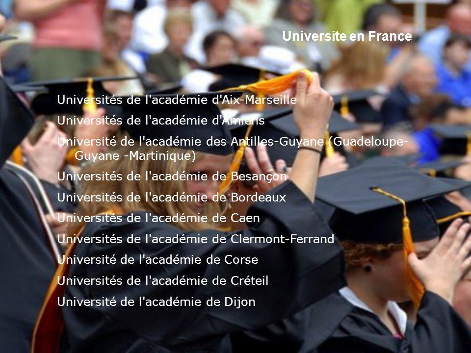Universite en France Universités de l académie d Aix-Marseille. Universités de l académie d Amiens.