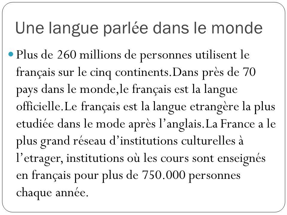 Une langue parlée dans le monde