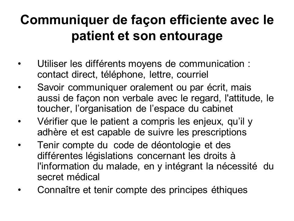 Communiquer de façon efficiente avec le patient et son entourage