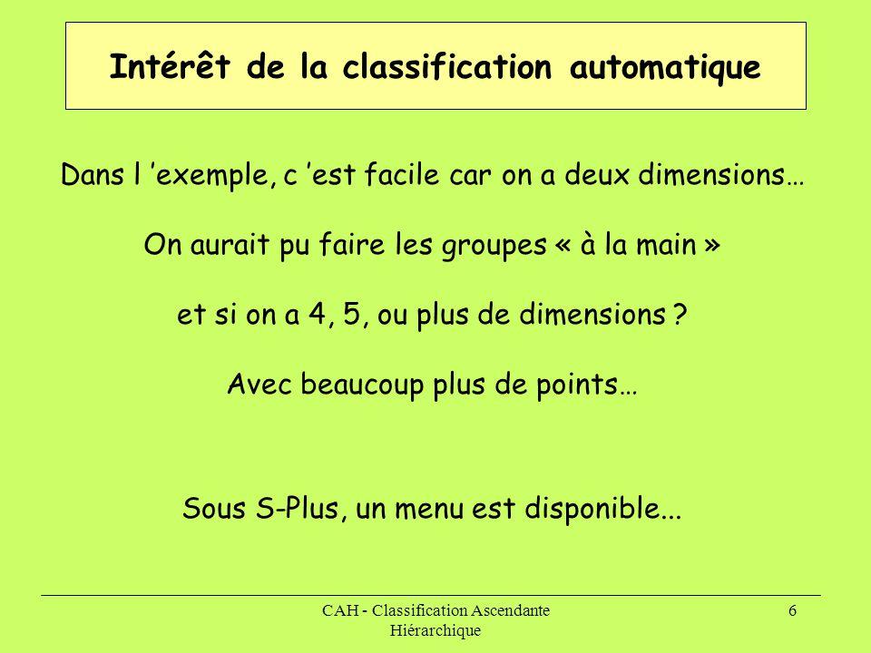 Intérêt de la classification automatique
