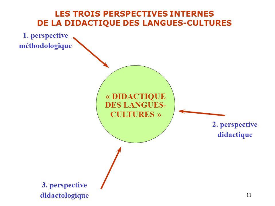 LES TROIS PERSPECTIVES INTERNES DE LA DIDACTIQUE DES LANGUES-CULTURES