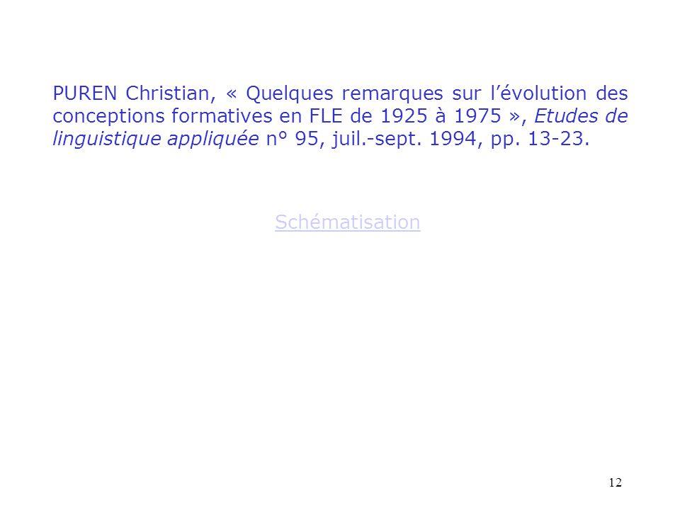 PUREN Christian, « Quelques remarques sur l'évolution des conceptions formatives en FLE de 1925 à 1975 », Etudes de linguistique appliquée n° 95, juil.-sept. 1994, pp. 13-23.