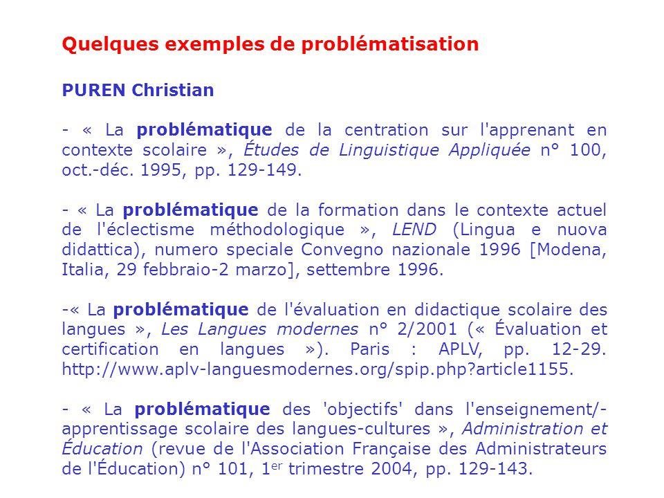 Quelques exemples de problématisation
