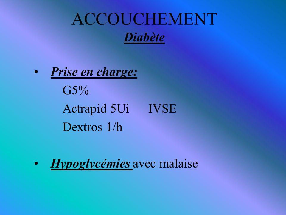 ACCOUCHEMENT Diabète Prise en charge: G5% Actrapid 5Ui IVSE