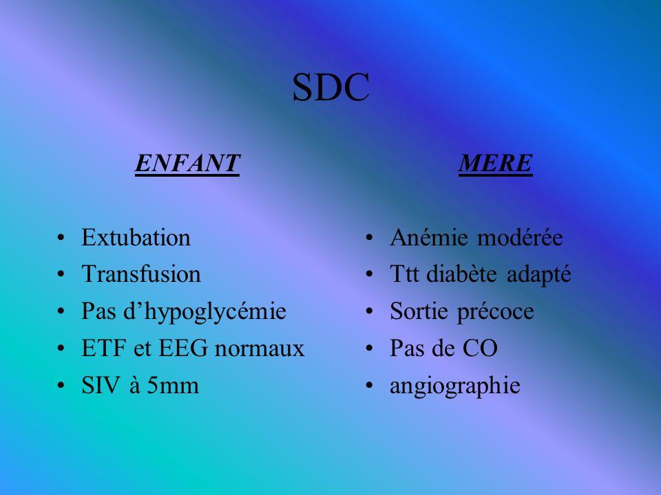 SDC ENFANT Extubation Transfusion Pas d'hypoglycémie