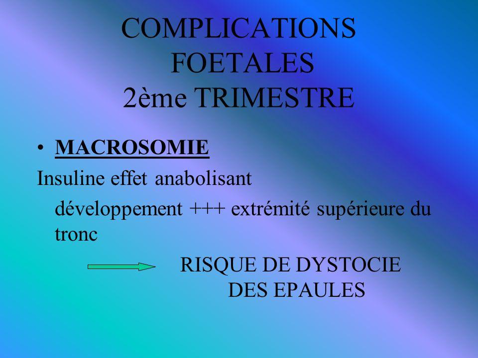 COMPLICATIONS FOETALES 2ème TRIMESTRE