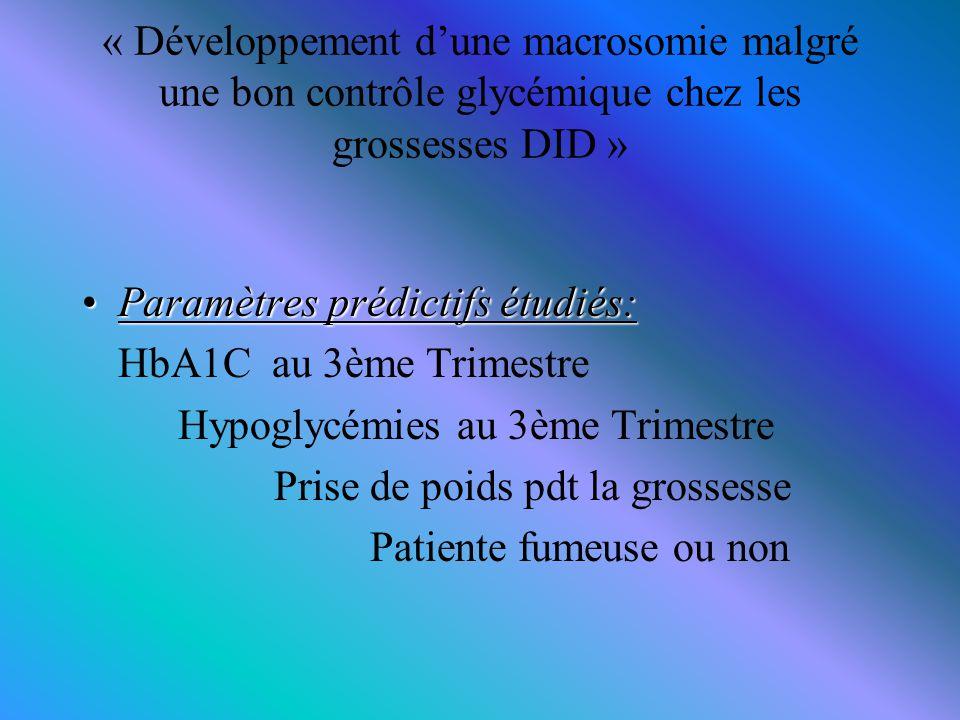 « Développement d'une macrosomie malgré une bon contrôle glycémique chez les grossesses DID »