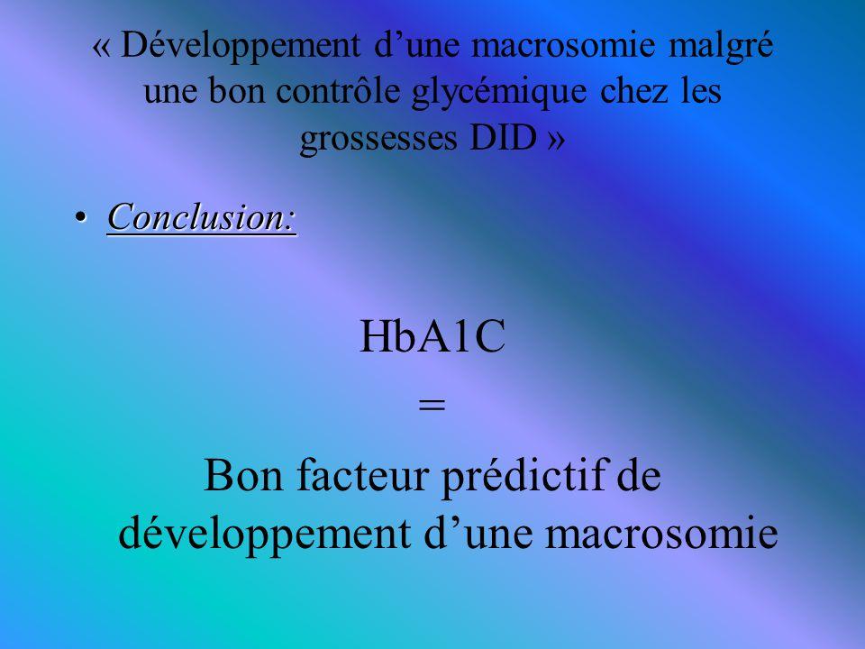 Bon facteur prédictif de développement d'une macrosomie