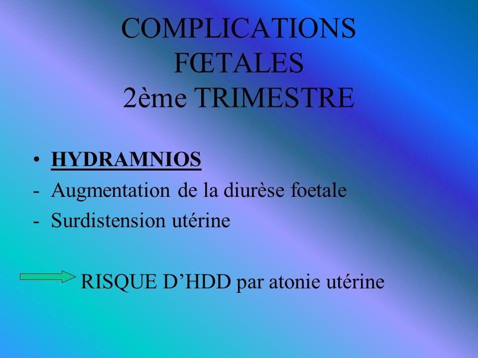COMPLICATIONS FŒTALES 2ème TRIMESTRE