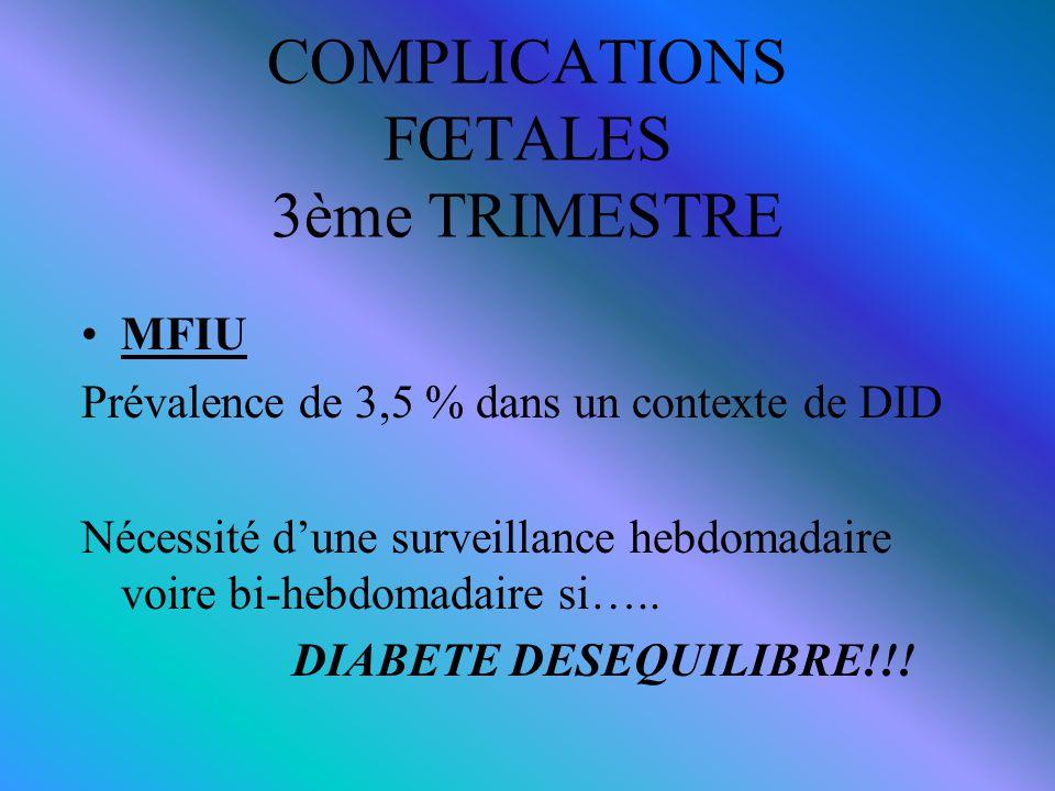 COMPLICATIONS FŒTALES 3ème TRIMESTRE