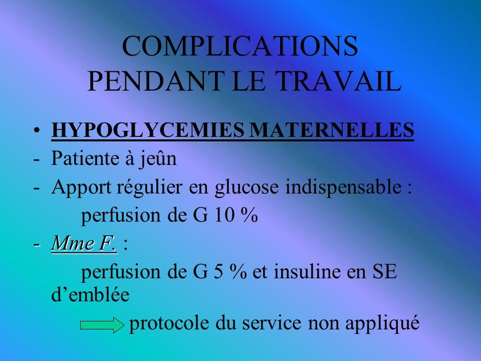 COMPLICATIONS PENDANT LE TRAVAIL