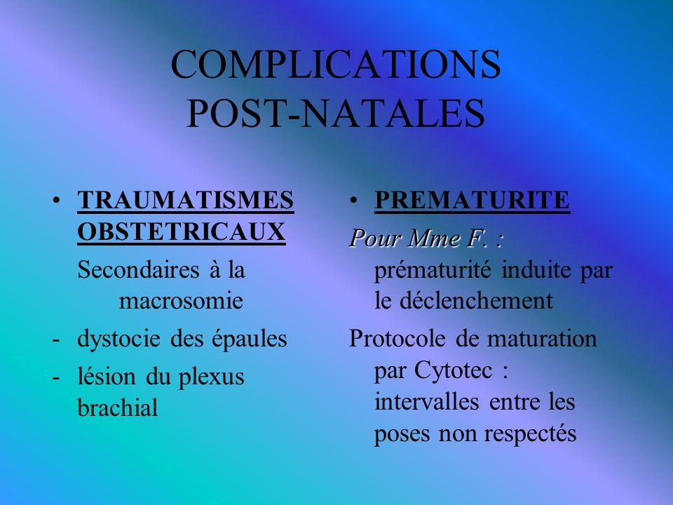 COMPLICATIONS POST-NATALES
