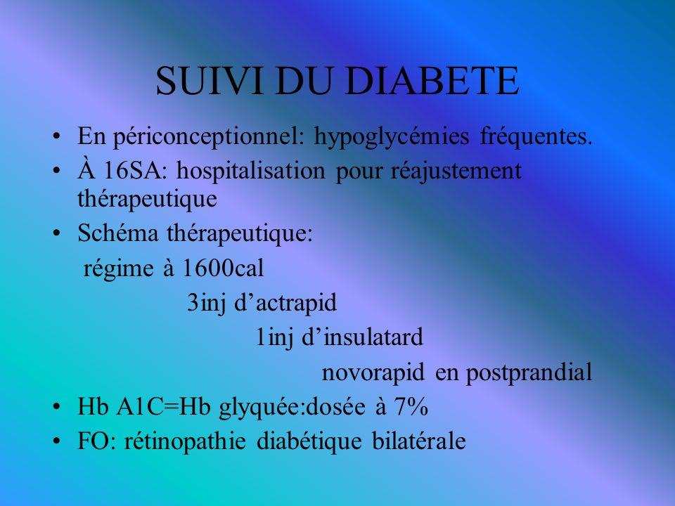 SUIVI DU DIABETE En périconceptionnel: hypoglycémies fréquentes.