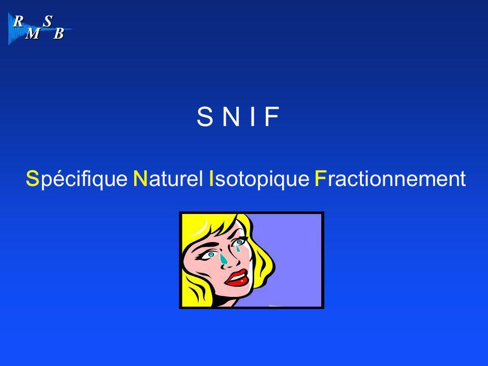S N I F Spécifique Naturel Isotopique Fractionnement