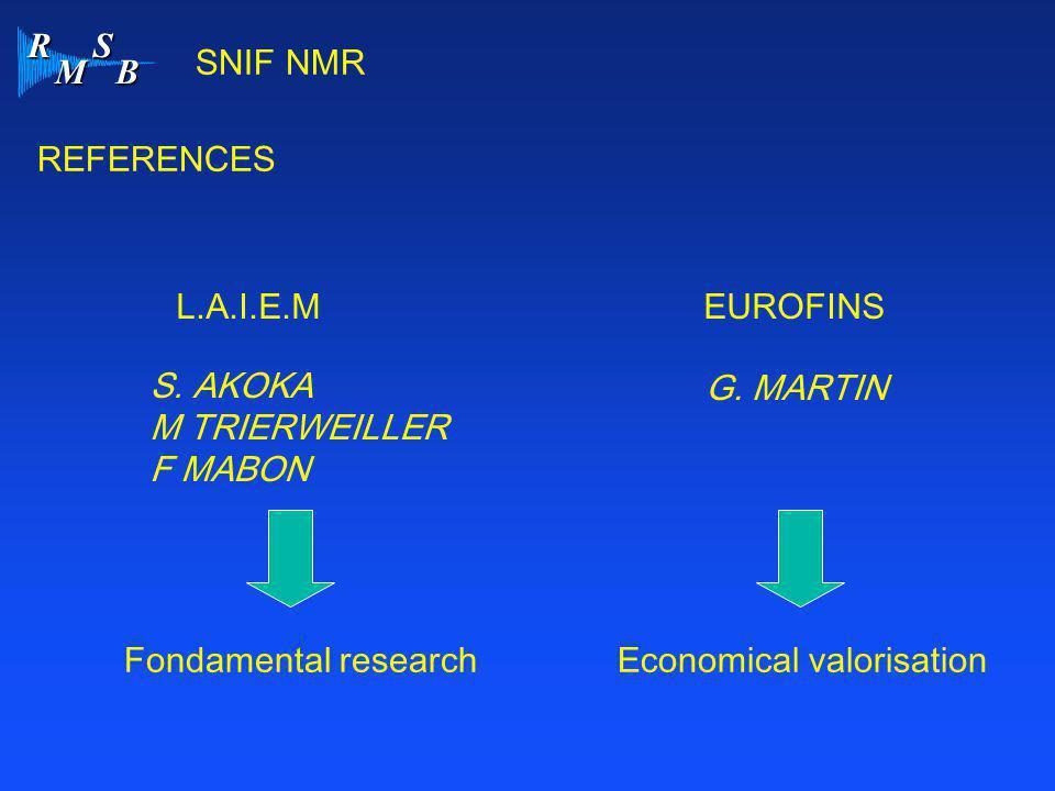 SNIF NMR REFERENCES. L.A.I.E.M EUROFINS. S. AKOKA. M TRIERWEILLER. F MABON. G. MARTIN. Fondamental research.