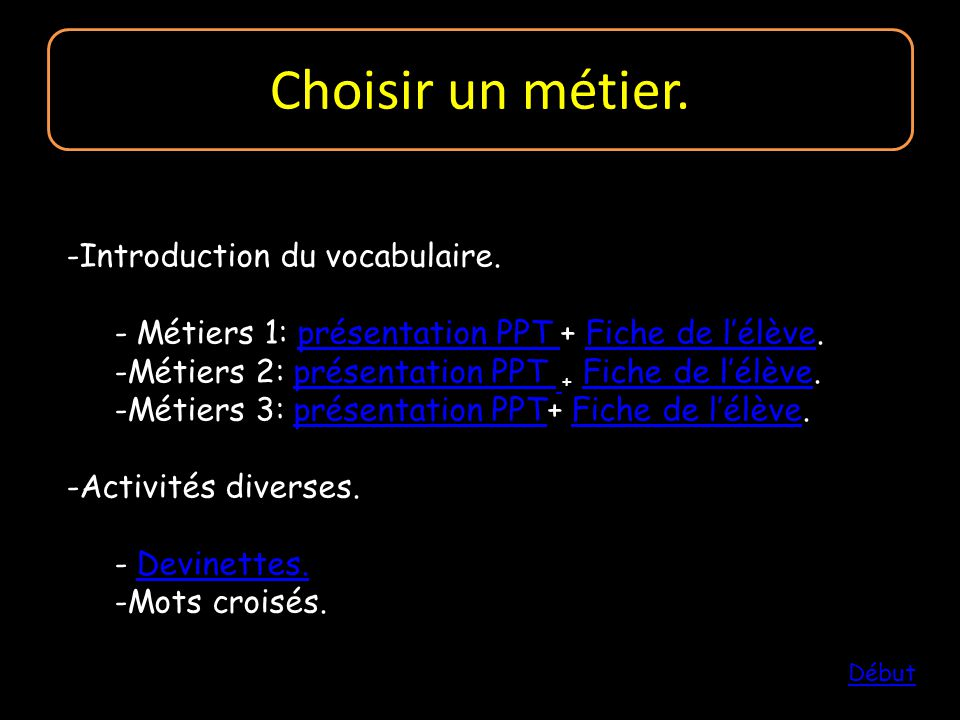 Choisir un métier. Introduction du vocabulaire.
