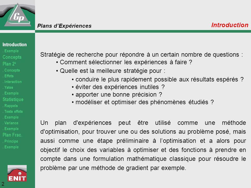 Comment sélectionner les expériences à faire
